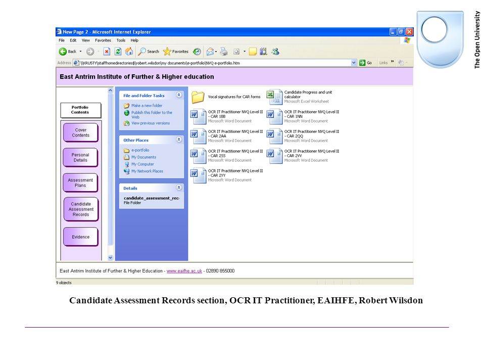 Candidate Assessment Records section, OCR IT Practitioner, EAIHFE, Robert Wilsdon