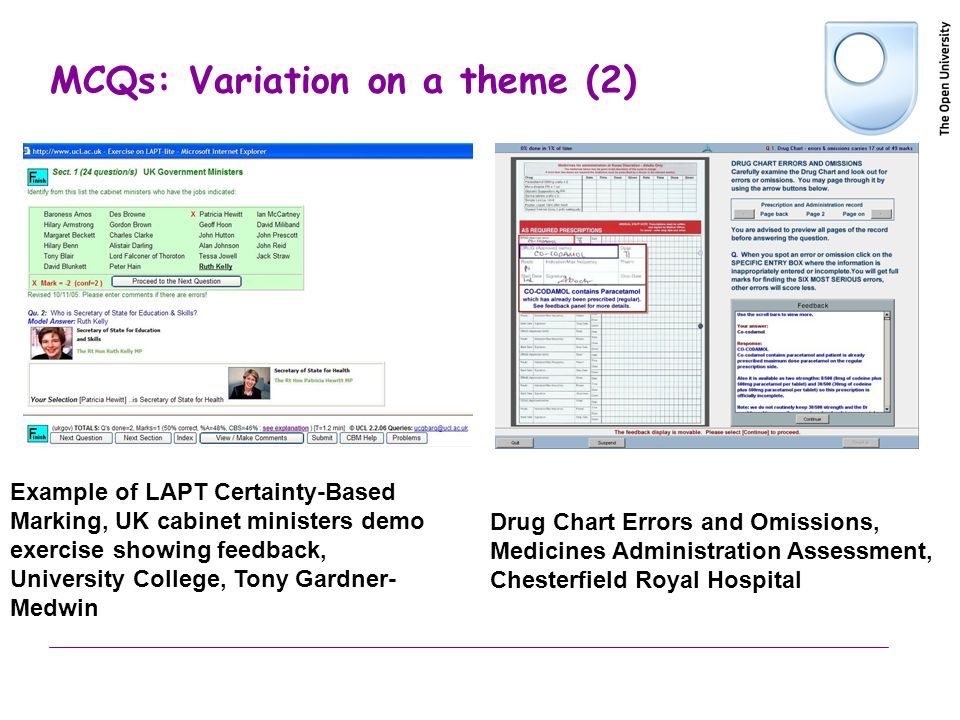 MCQs: Variation on a theme (2) Example of LAPT Certainty-Based Marking, UK cabinet ministers demo exercise showing feedback, University College, Tony