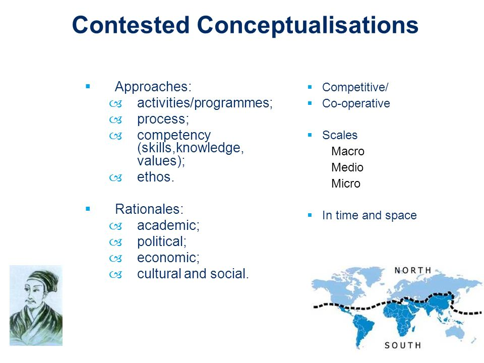 Contested Conceptualisations Approaches: –activities/programmes; –process; –competency (skills,knowledge, values); –ethos. Rationales: –academic; –pol