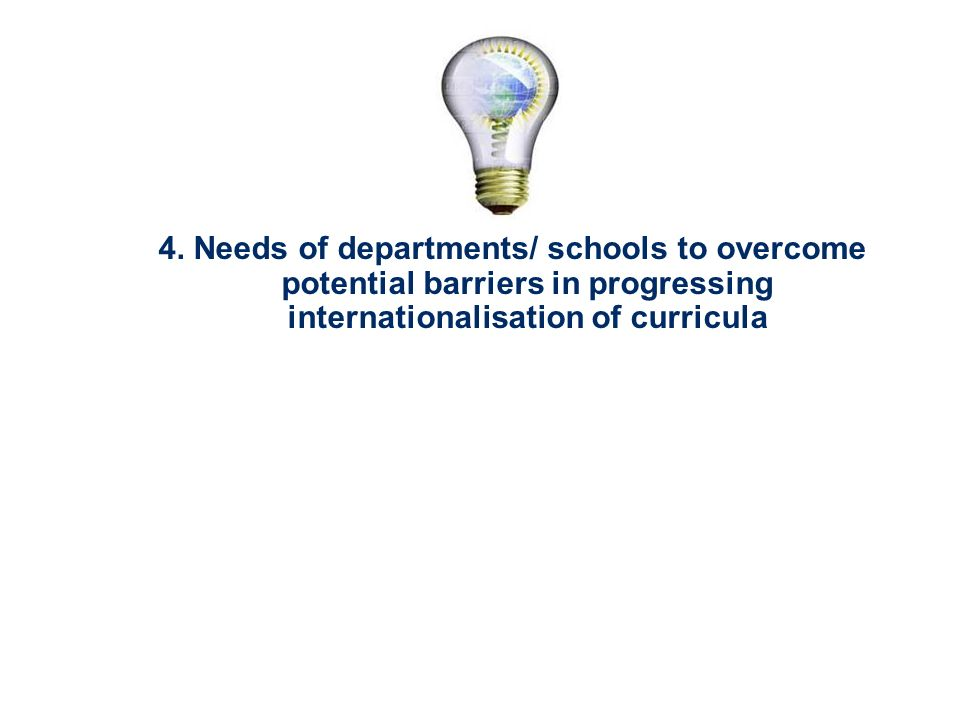 4. Needs of departments/ schools to overcome potential barriers in progressing internationalisation of curricula