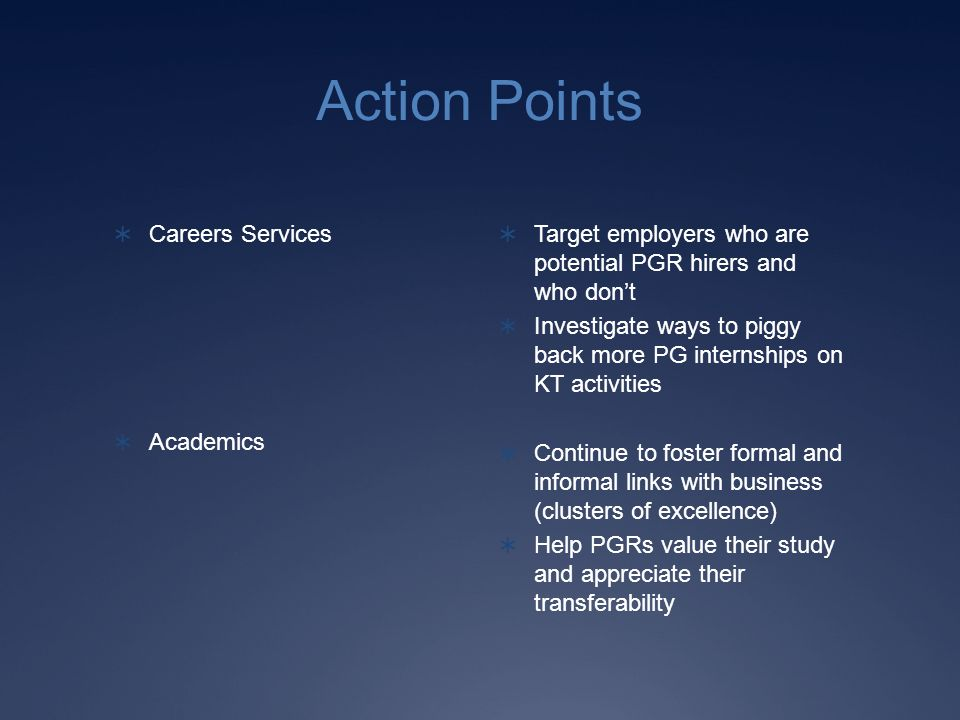 Action Points Careers Services Academics Target employers who are potential PGR hirers and who dont Investigate ways to piggy back more PG internships on KT activities Continue to foster formal and informal links with business (clusters of excellence) Help PGRs value their study and appreciate their transferability
