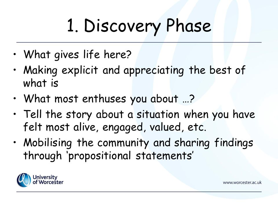 1. Discovery Phase What gives life here.