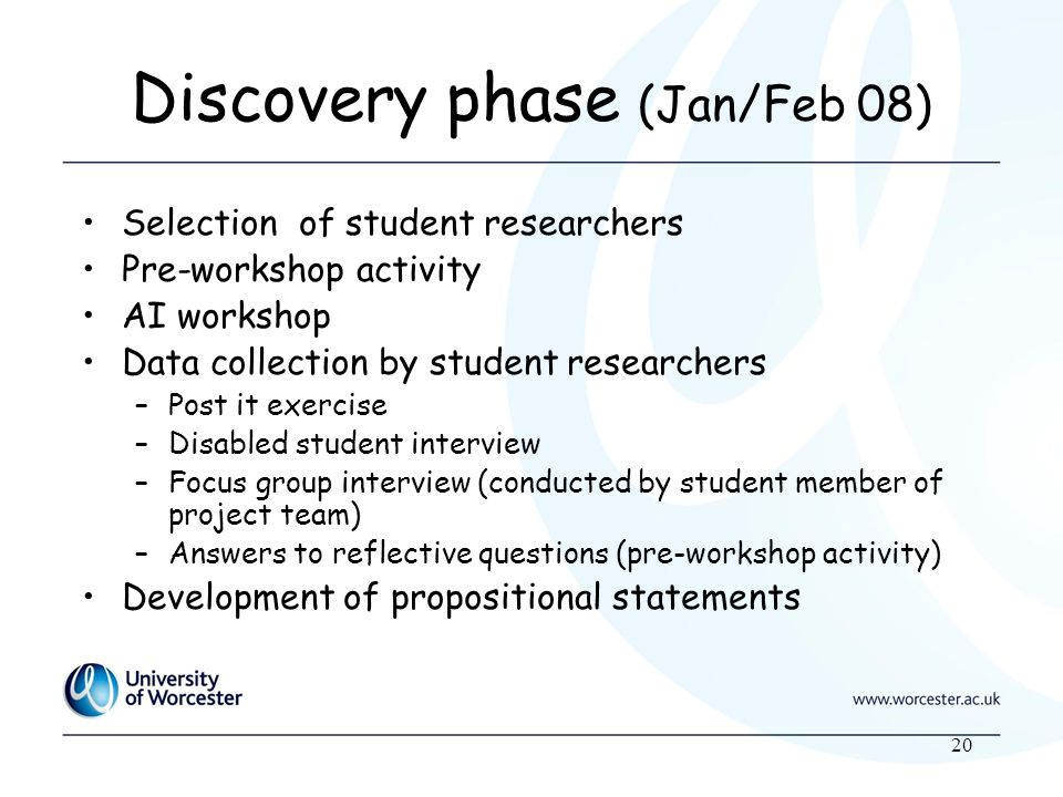 20 Discovery phase (Jan/Feb 08) Selection of student researchers Pre-workshop activity AI workshop Data collection by student researchers –Post it exercise –Disabled student interview –Focus group interview (conducted by student member of project team) –Answers to reflective questions (pre-workshop activity) Development of propositional statements
