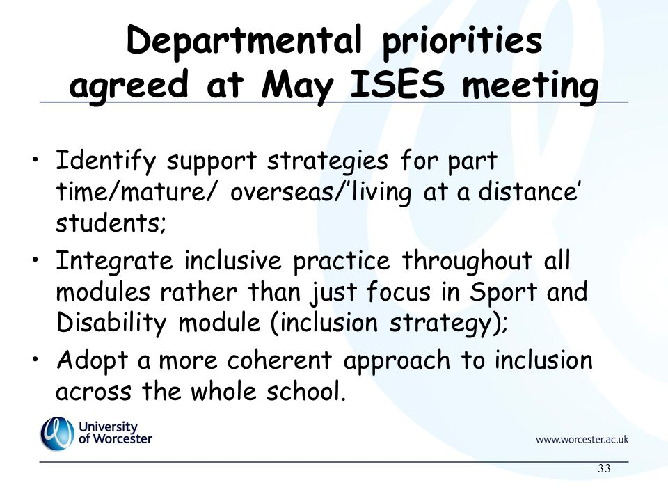 33 Departmental priorities agreed at May ISES meeting Identify support strategies for part time/mature/ overseas/living at a distance students; Integrate inclusive practice throughout all modules rather than just focus in Sport and Disability module (inclusion strategy); Adopt a more coherent approach to inclusion across the whole school.