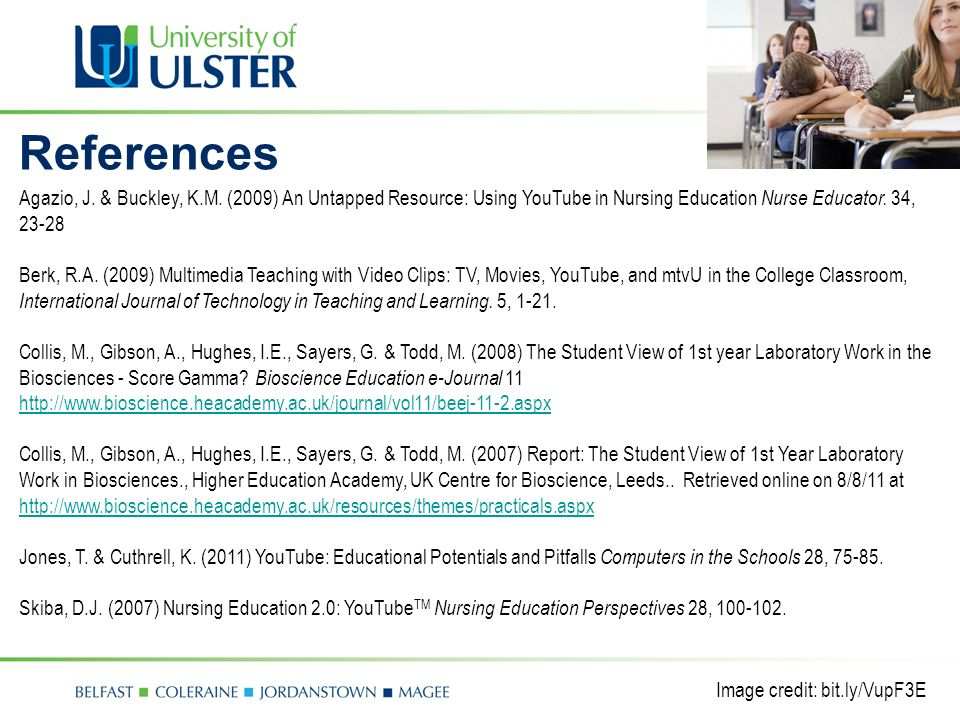 Image credit: bit.ly/VupF3E Agazio, J. & Buckley, K.M. (2009) An Untapped Resource: Using YouTube in Nursing Education Nurse Educator. 34, 23-28 Berk,