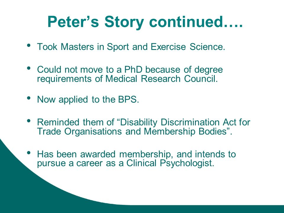 Peters Story continued…. Took Masters in Sport and Exercise Science.