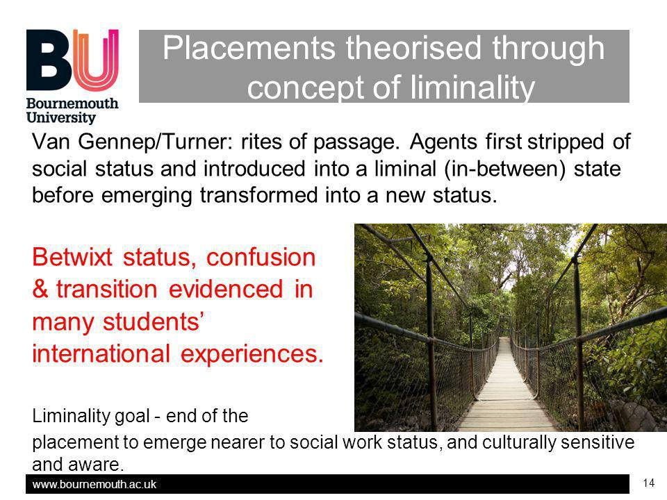 14 Placements theorised through concept of liminality Van Gennep/Turner: rites of passage.