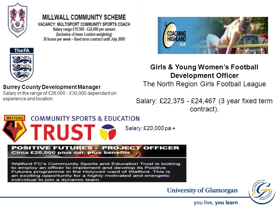 Girls & Young Womens Football Development Officer The North Region Girls Football League Salary: £22,375 - £24,467 (3 year fixed term contract).