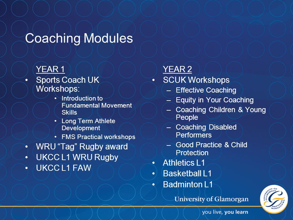 Coaching Modules YEAR 1 Sports Coach UK Workshops: Introduction to Fundamental Movement Skills Long Term Athlete Development FMS Practical workshops WRU Tag Rugby award UKCC L1 WRU Rugby UKCC L1 FAW YEAR 2 SCUK Workshops –Effective Coaching –Equity in Your Coaching –Coaching Children & Young People –Coaching Disabled Performers –Good Practice & Child Protection Athletics L1 Basketball L1 Badminton L1