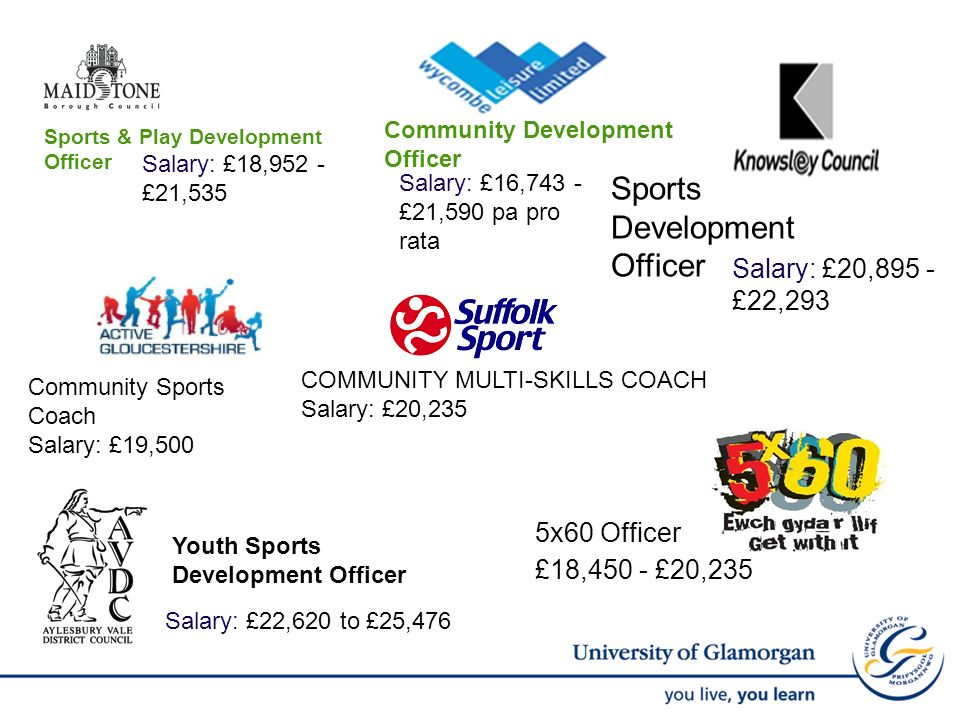Sports & Play Development Officer Salary: £18,952 - £21,535 Sports Development Officer Salary: £20,895 - £22,293 Community Sports Coach Salary: £19,500 Community Development Officer Salary: £16,743 - £21,590 pa pro rata Youth Sports Development Officer Salary: £22,620 to £25,476 COMMUNITY MULTI-SKILLS COACH Salary: £20,235 5x60 Officer £18,450 - £20,235