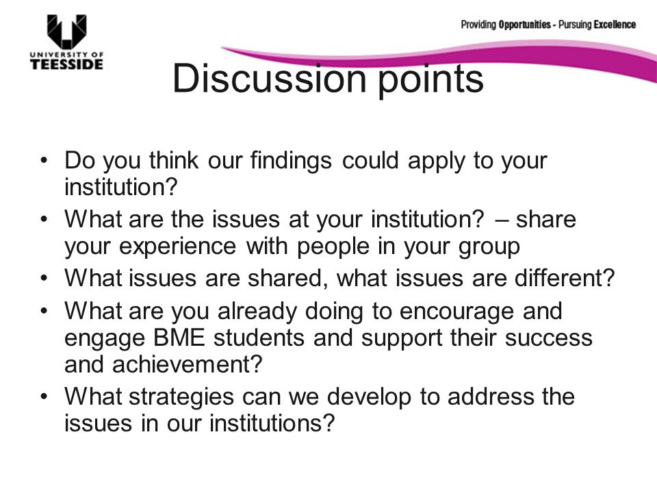 Discussion points Do you think our findings could apply to your institution.