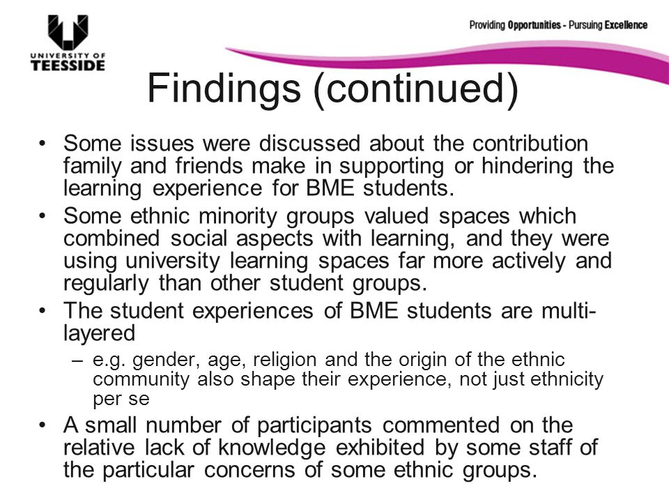 Findings (continued) Some issues were discussed about the contribution family and friends make in supporting or hindering the learning experience for BME students.