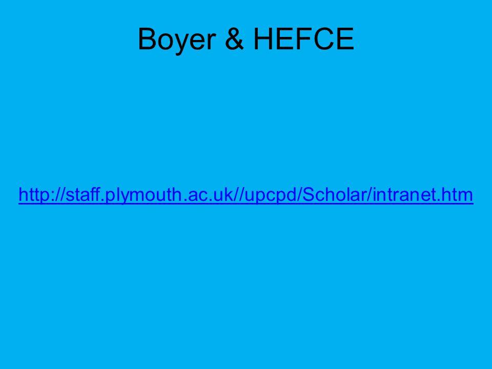 Boyer & HEFCE http://staff.plymouth.ac.uk//upcpd/Scholar/intranet.htm