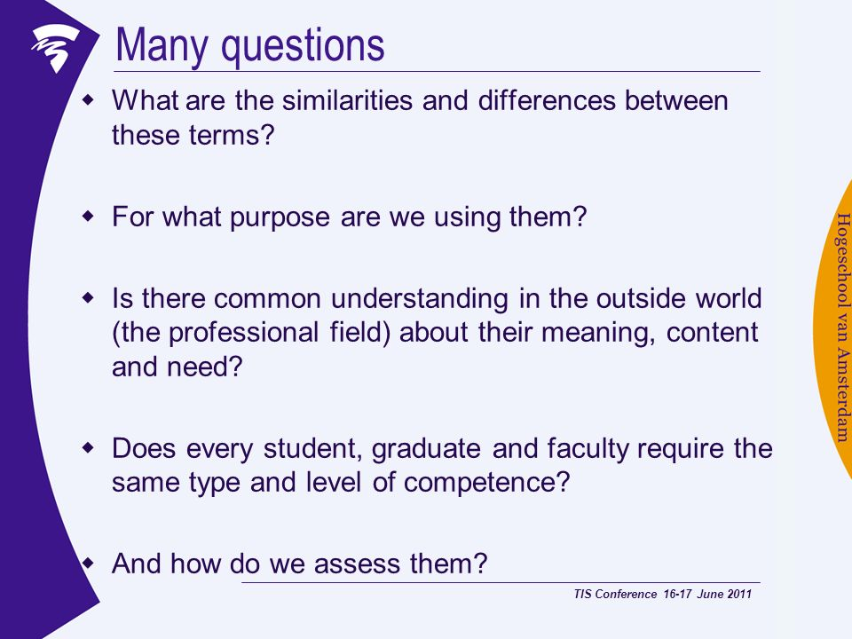 Many questions What are the similarities and differences between these terms? For what purpose are we using them? Is there common understanding in the