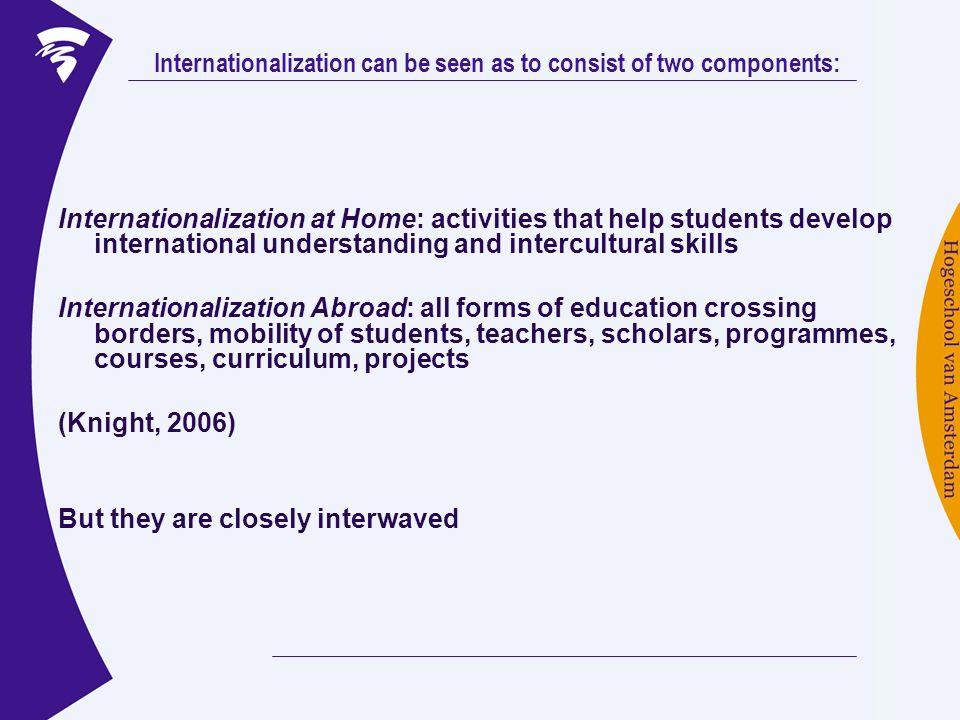 Internationalization at Home: activities that help students develop international understanding and intercultural skills Internationalization Abroad: