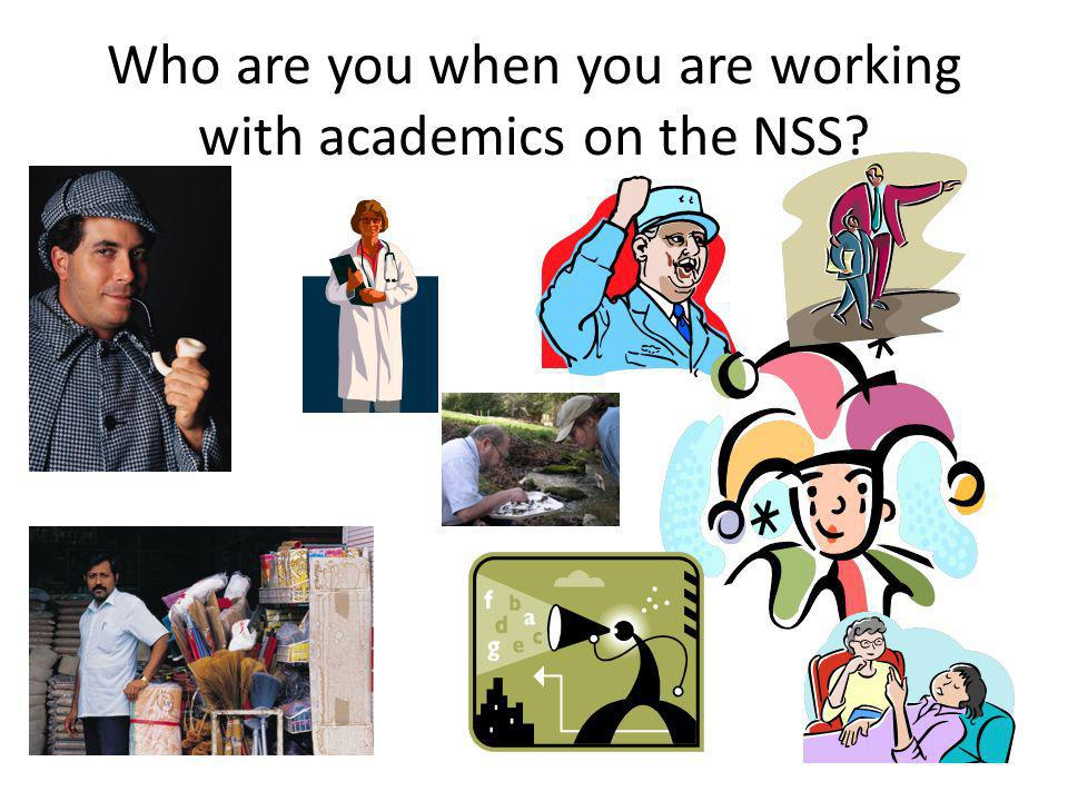 Who are you when you are working with academics on the NSS