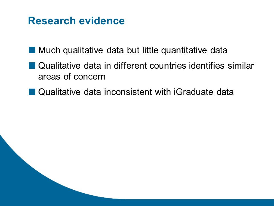 Research evidence Much qualitative data but little quantitative data Qualitative data in different countries identifies similar areas of concern Qualitative data inconsistent with iGraduate data