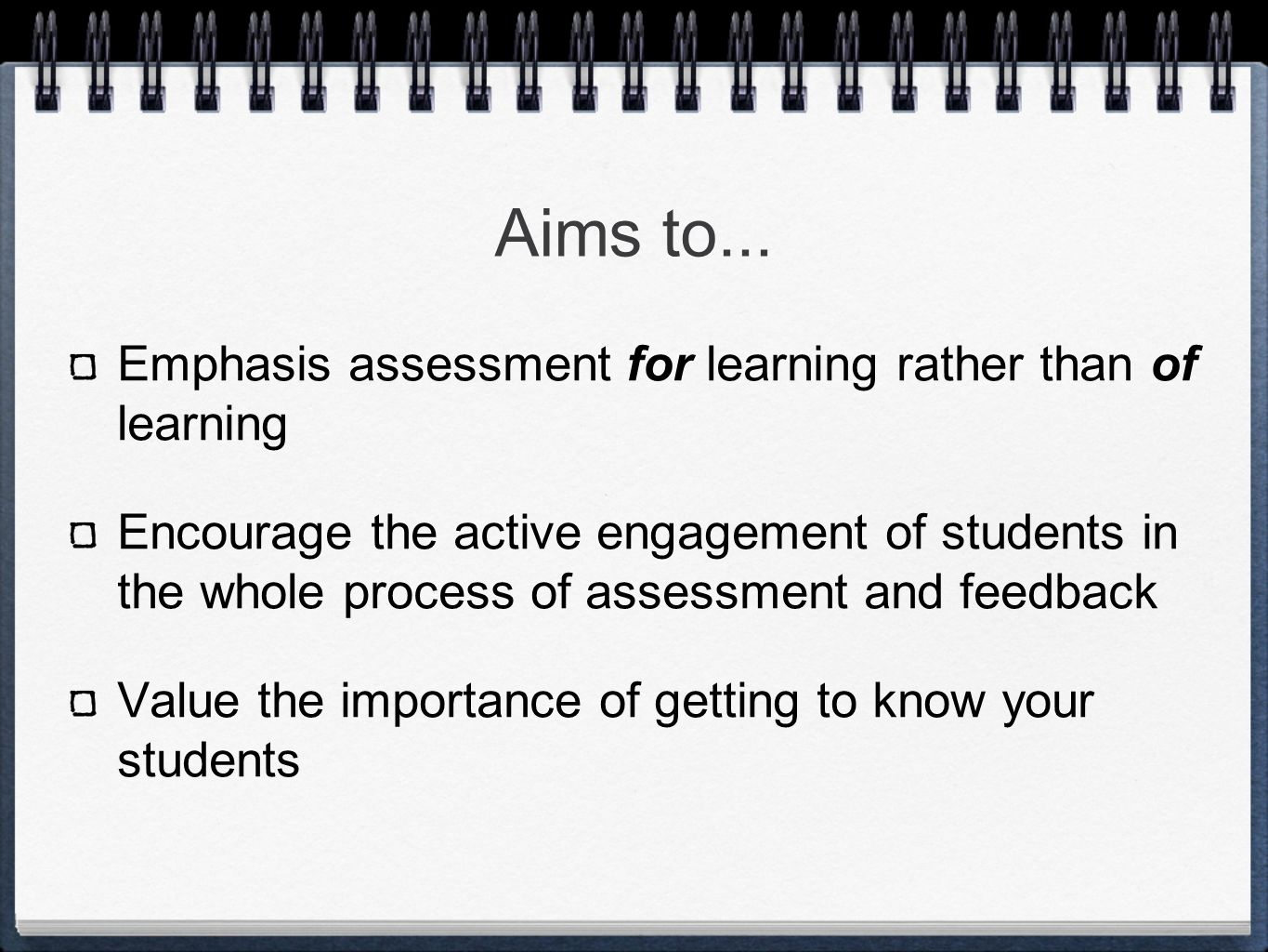 Issues with assessment.
