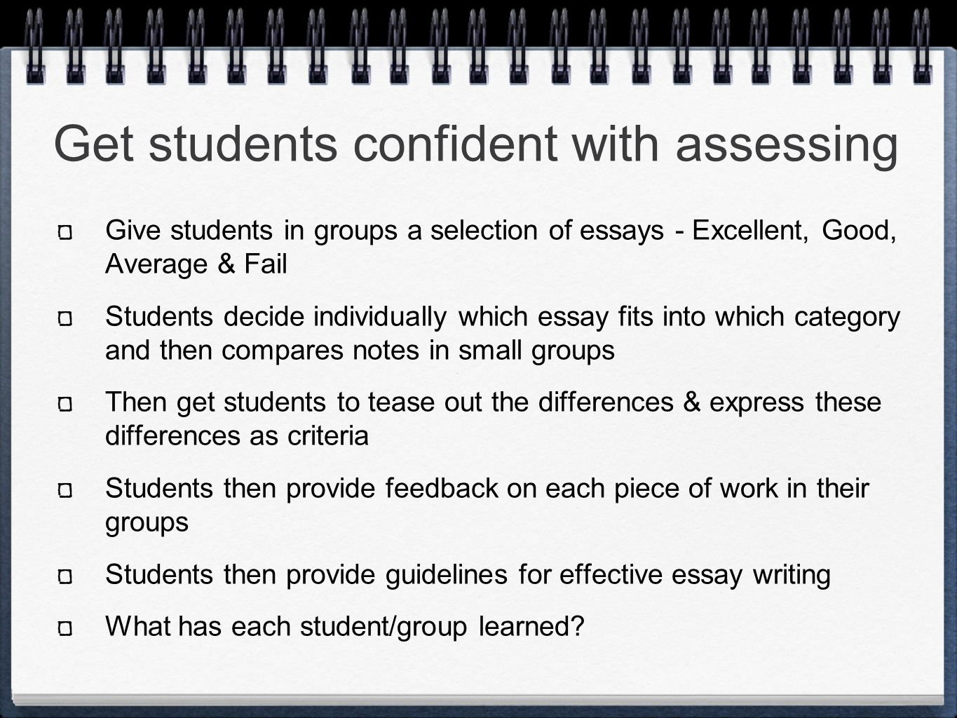 Get students confident with assessing Give students in groups a selection of essays - Excellent, Good, Average & Fail Students decide individually which essay fits into which category and then compares notes in small groups Then get students to tease out the differences & express these differences as criteria Students then provide feedback on each piece of work in their groups Students then provide guidelines for effective essay writing What has each student/group learned?