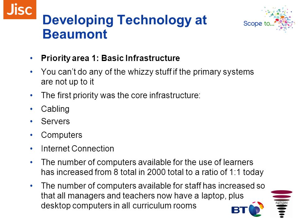 Developing Technology at Beaumont Priority area 1: Basic Infrastructure You cant do any of the whizzy stuff if the primary systems are not up to it Th