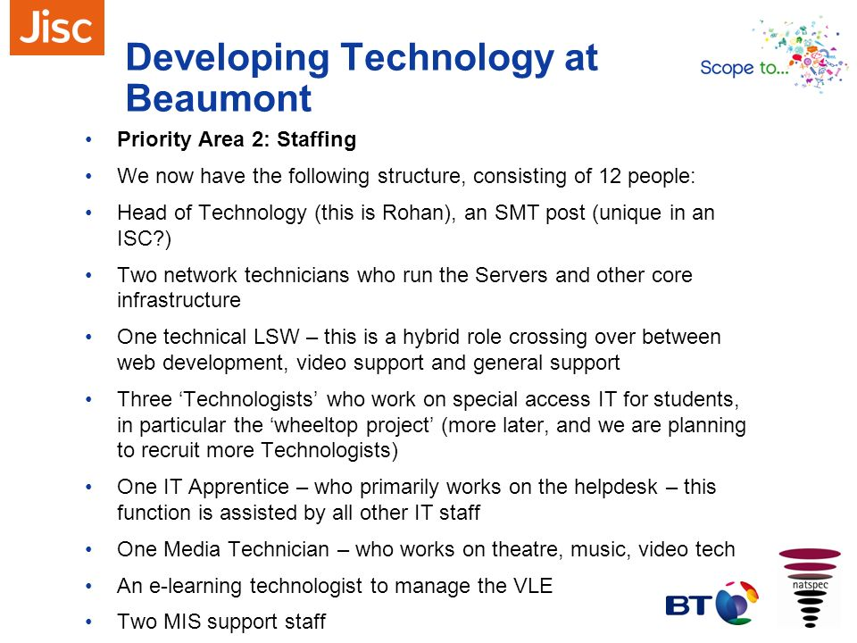 Developing Technology at Beaumont Priority Area 2: Staffing We now have the following structure, consisting of 12 people: Head of Technology (this is