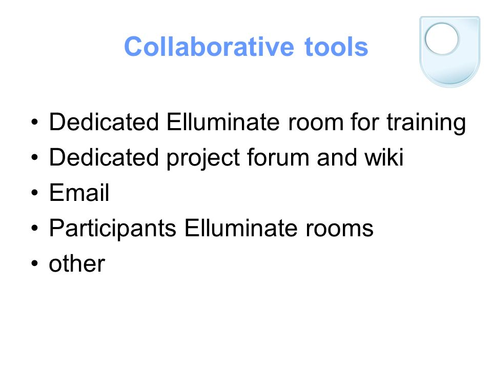 Collaborative tools Dedicated Elluminate room for training Dedicated project forum and wiki Email Participants Elluminate rooms other