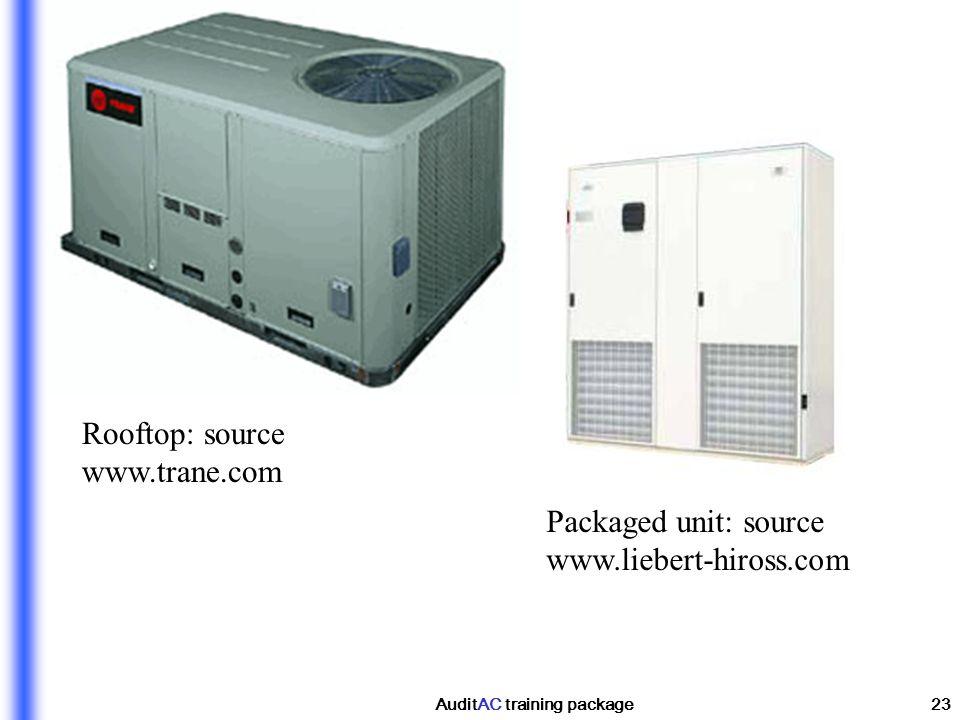 AuditAC training package23 Rooftop: source www.trane.com Packaged unit: source www.liebert-hiross.com