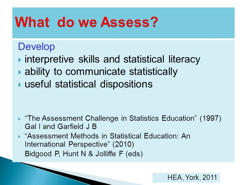 Develop interpretive skills and statistical literacy ability to communicate statistically useful statistical dispositions The Assessment Challenge in