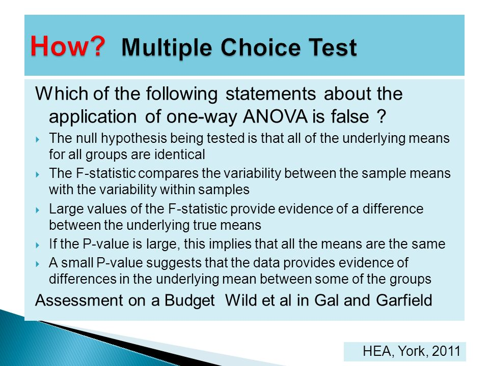 Which of the following statements about the application of one-way ANOVA is false ? The null hypothesis being tested is that all of the underlying mea
