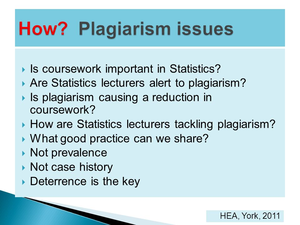 Is coursework important in Statistics? Are Statistics lecturers alert to plagiarism? Is plagiarism causing a reduction in coursework? How are Statisti