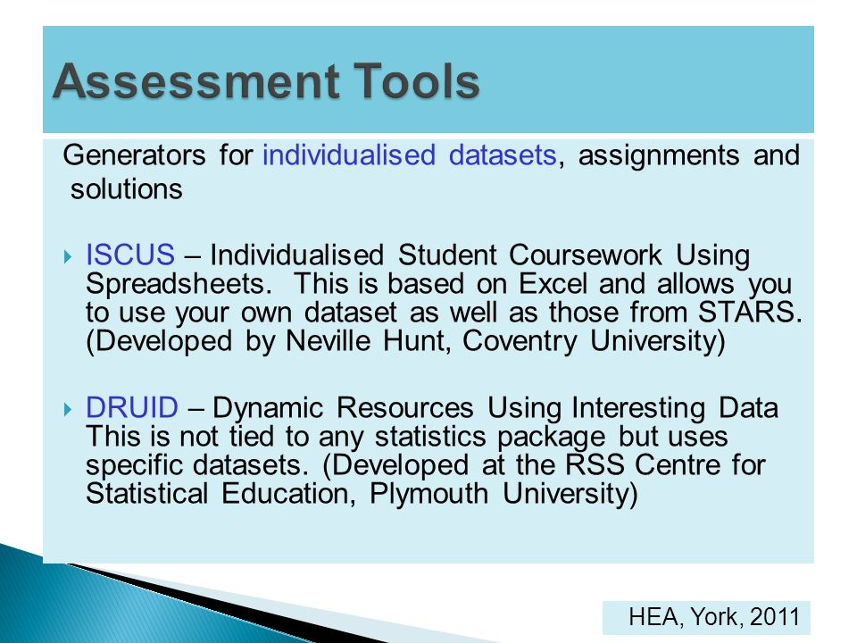 Generators for individualised datasets, assignments and solutions ISCUS – Individualised Student Coursework Using Spreadsheets. This is based on Excel