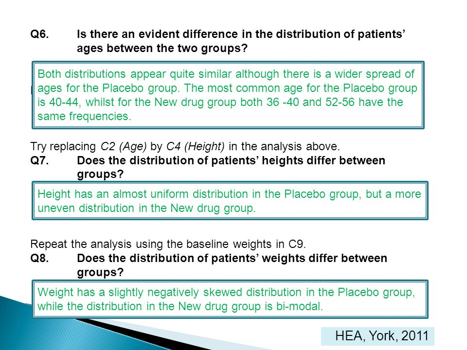 HEA, York, 2011 Q6.Is there an evident difference in the distribution of patients ages between the two groups? Height and baseline weight Try replacin