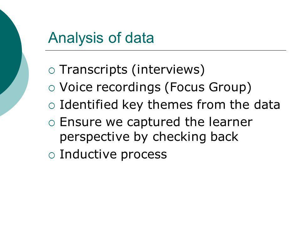 Analysis of data Transcripts (interviews) Voice recordings (Focus Group) Identified key themes from the data Ensure we captured the learner perspective by checking back Inductive process