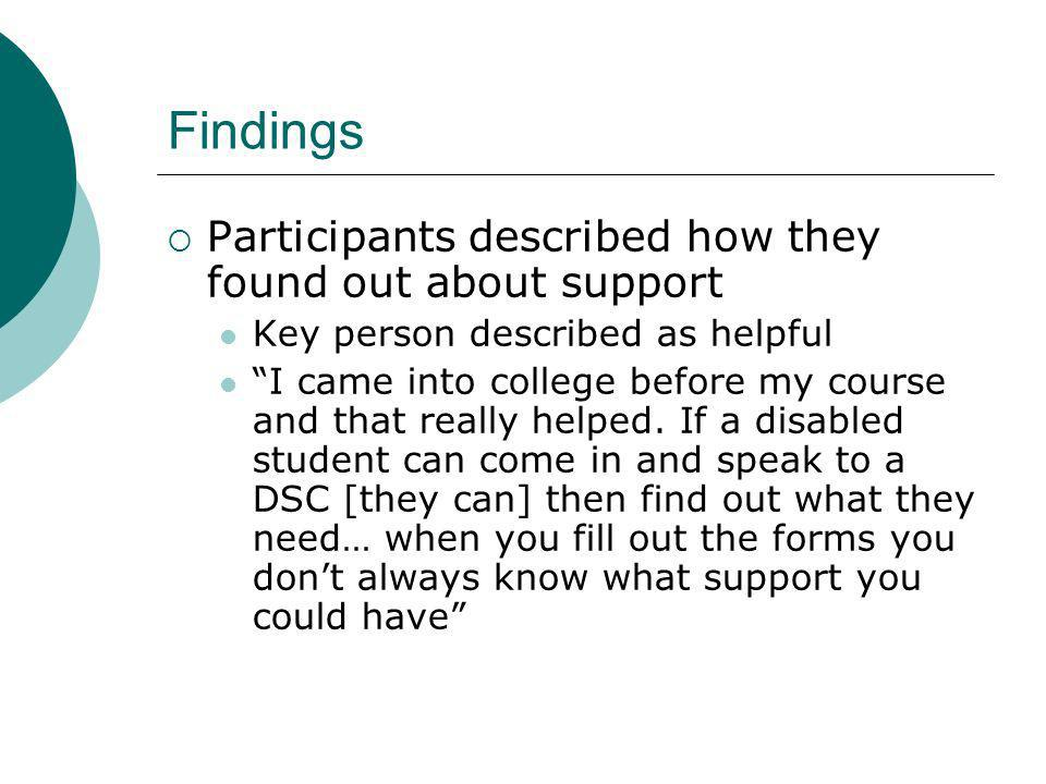 Findings Participants described how they found out about support Key person described as helpful I came into college before my course and that really helped.