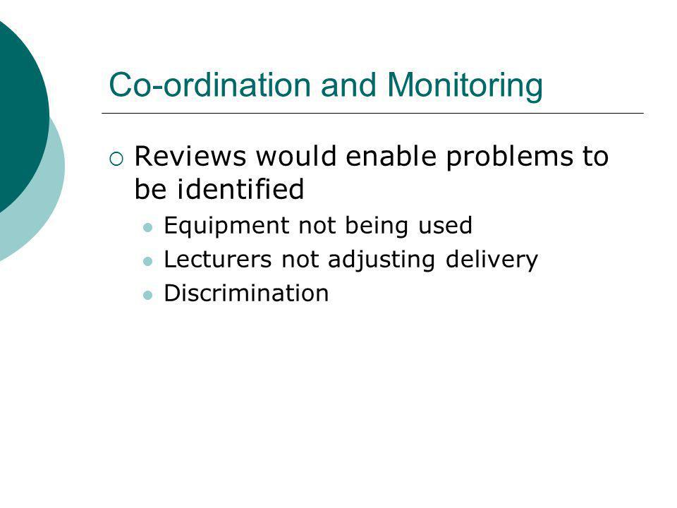 Co-ordination and Monitoring Reviews would enable problems to be identified Equipment not being used Lecturers not adjusting delivery Discrimination