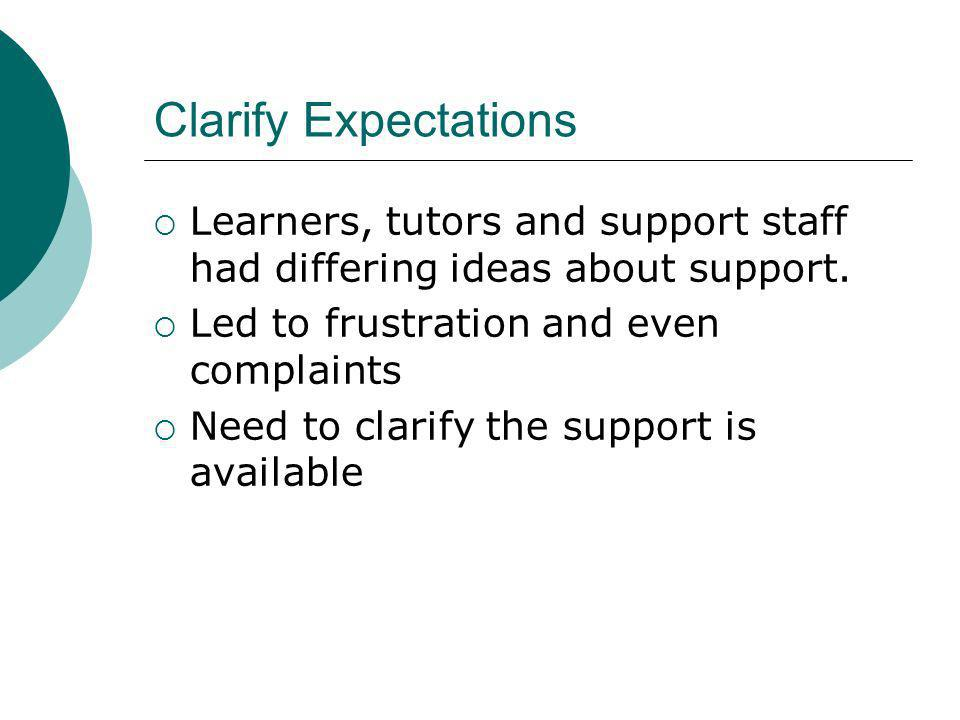 Clarify Expectations Learners, tutors and support staff had differing ideas about support.