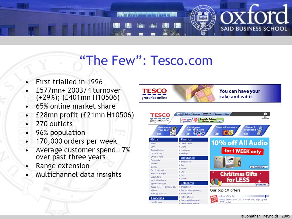 © Jonathan Reynolds, 2005 The Few: Tesco.com First trialled in 1996 £577mn+ 2003/4 turnover (+29%); (£401mn H10506) 65% online market share £28mn profit (£21mn H10506) 270 outlets 96% population 170,000 orders per week Average customer spend +7% over past three years Range extension Multichannel data insights