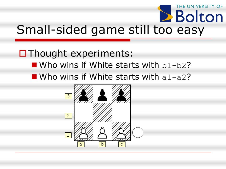 Small-sided game still too easy Thought experiments: Who wins if White starts with b1-b2 .