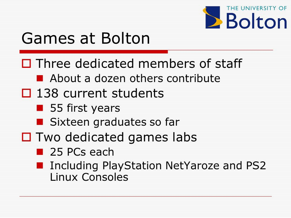 Three dedicated members of staff About a dozen others contribute 138 current students 55 first years Sixteen graduates so far Two dedicated games labs 25 PCs each Including PlayStation NetYaroze and PS2 Linux Consoles