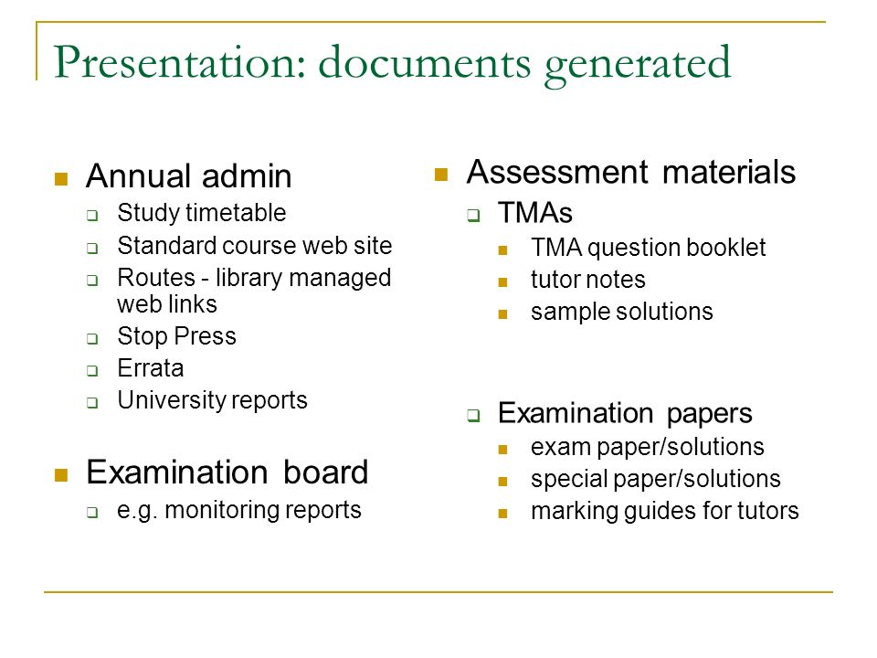 Presentation: documents generated Annual admin Study timetable Standard course web site Routes - library managed web links Stop Press Errata University reports Examination board e.g.