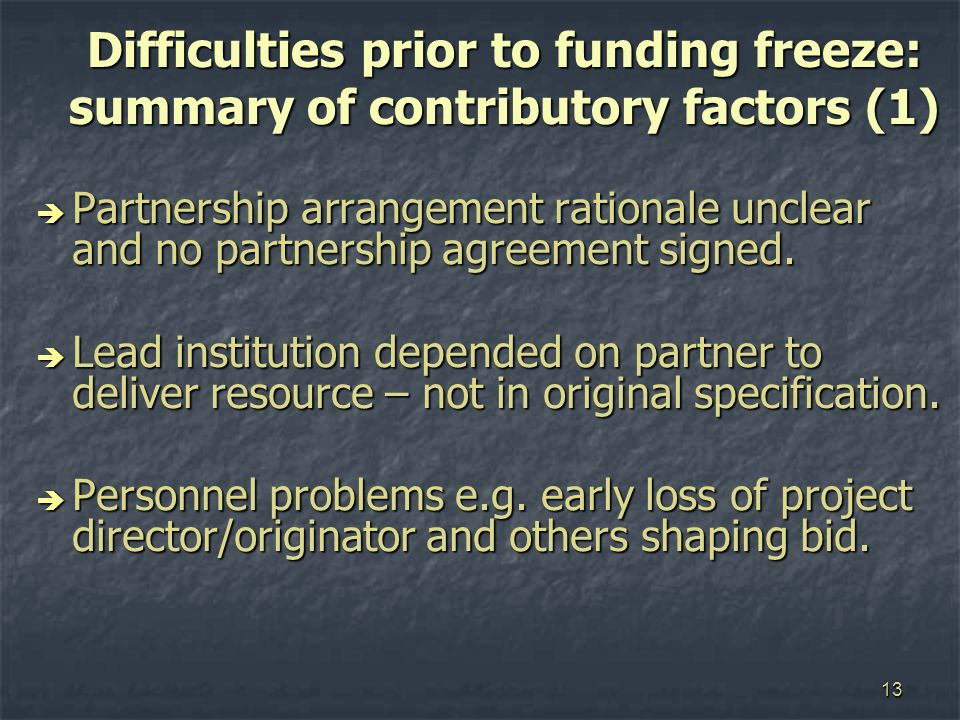 13 Difficulties prior to funding freeze: summary of contributory factors (1) Partnership arrangement rationale unclear and no partnership agreement signed.