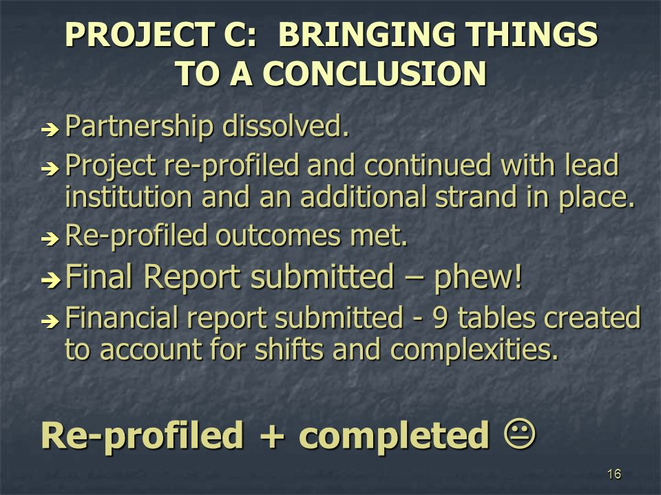 16 PROJECT C: BRINGING THINGS TO A CONCLUSION Partnership dissolved. Partnership dissolved. Project re-profiled and continued with lead institution an
