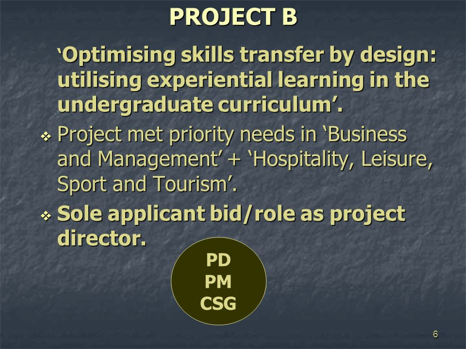 6 PROJECT B Optimising skills transfer by design: utilising experiential learning in the undergraduate curriculum. Optimising skills transfer by desig