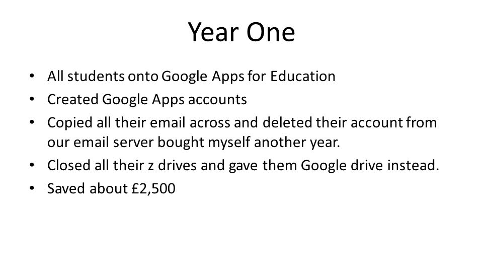 Year One All students onto Google Apps for Education Created Google Apps accounts Copied all their email across and deleted their account from our email server bought myself another year.