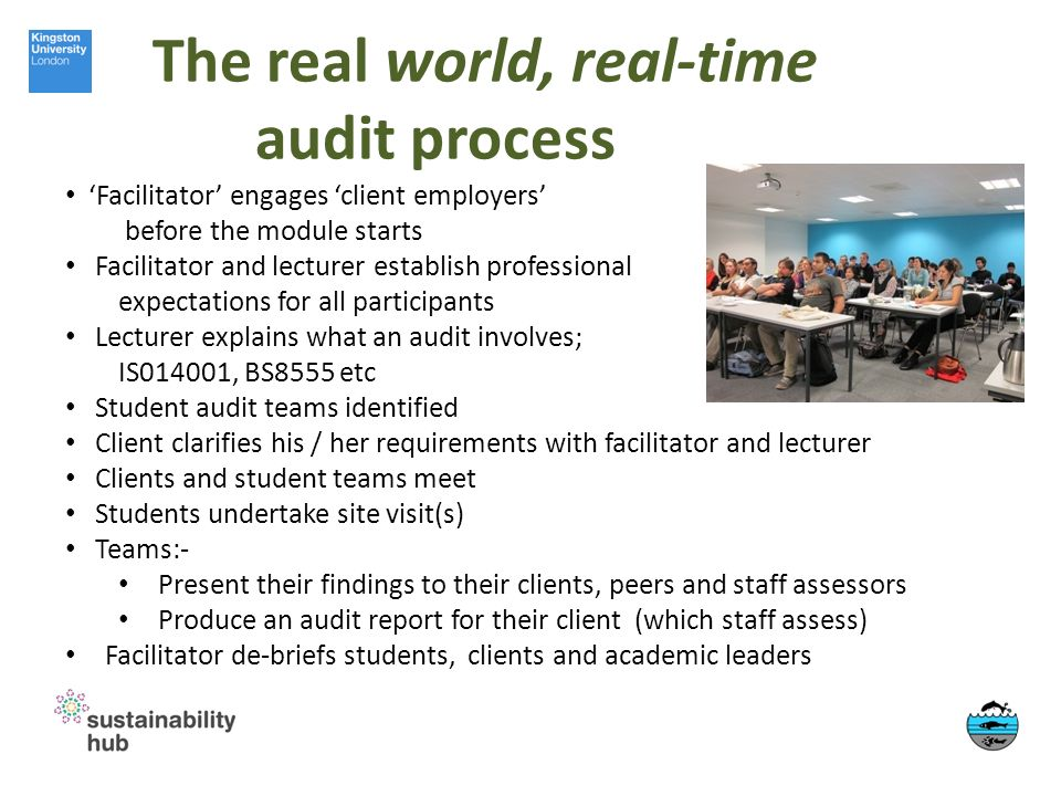 The real world, real-time audit process Facilitator engages client employers before the module starts Facilitator and lecturer establish professional expectations for all participants Lecturer explains what an audit involves; IS014001, BS8555 etc Student audit teams identified Client clarifies his / her requirements with facilitator and lecturer Clients and student teams meet Students undertake site visit(s) Teams:- Present their findings to their clients, peers and staff assessors Produce an audit report for their client (which staff assess) Facilitator de-briefs students, clients and academic leaders