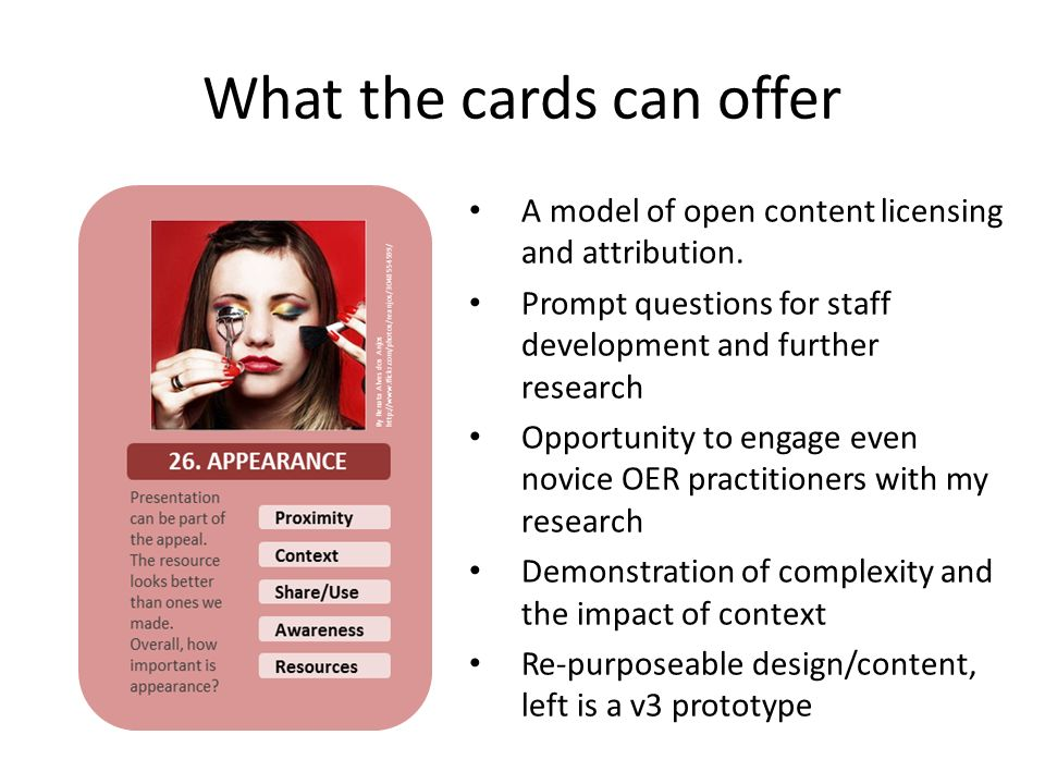 What the cards can offer A model of open content licensing and attribution.