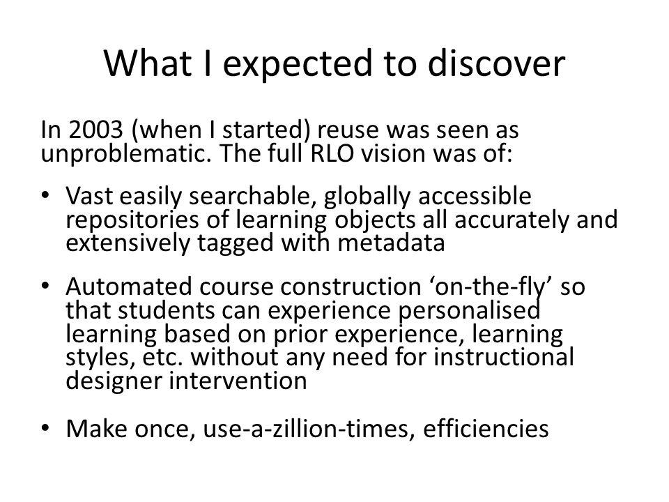 Many inter-linked reuse agendas Macro = political, economic, technical (e.g.