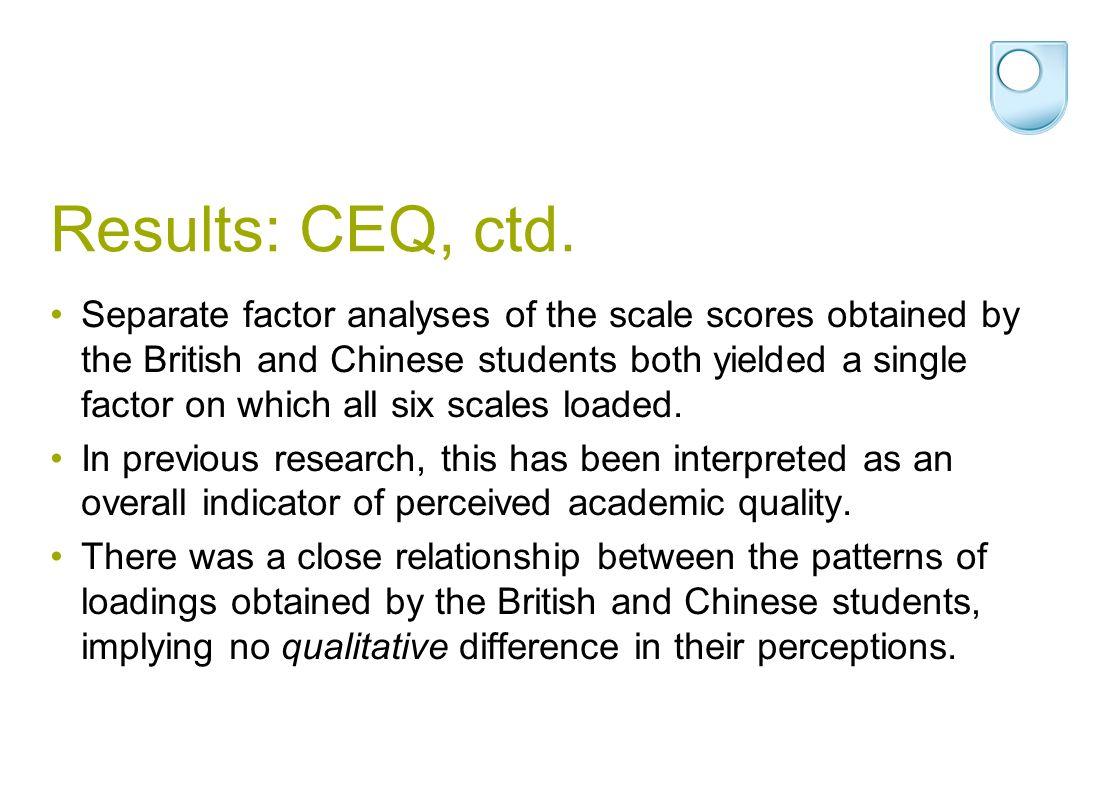 Results: CEQ, ctd.