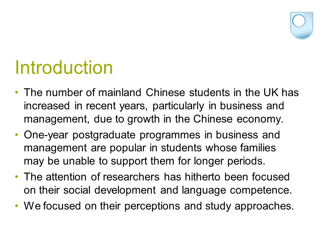 Method Six UK business schools recruiting significant numbers of students from mainland China agreed to participate.
