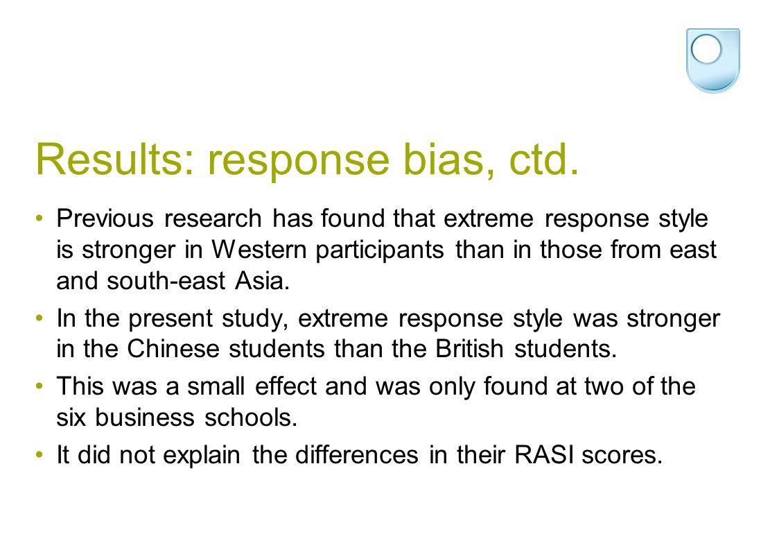 Results: response bias, ctd.